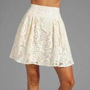 NEW Nanette Lepore Mambo Cream Lace Skirt NWT 4
